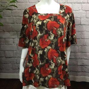 🌻 SALE! 3/$20 Red & brown pattern plus 1X top